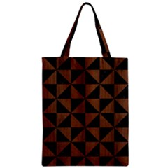 Triangle1 Black Marble & Brown Wood Zipper Classic Tote Bag by trendistuff