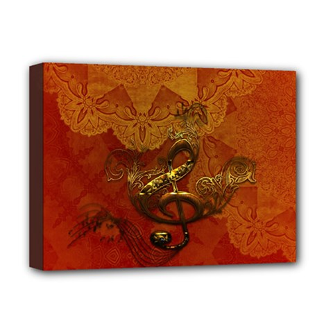 Golden Clef On Vintage Background Deluxe Canvas 16  X 12   by FantasyWorld7