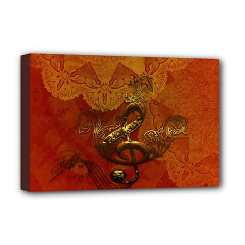 Golden Clef On Vintage Background Deluxe Canvas 18  X 12   by FantasyWorld7