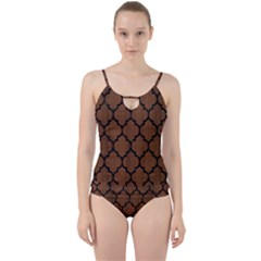 Tile1 Black Marble & Brown Wood (r) Cut Out Top Tankini Set