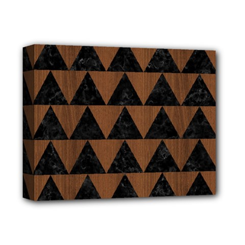 Triangle2 Black Marble & Brown Wood Deluxe Canvas 14  X 11  (stretched) by trendistuff