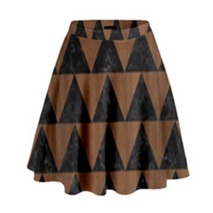 Triangle2 Black Marble & Brown Wood High Waist Skirt by trendistuff