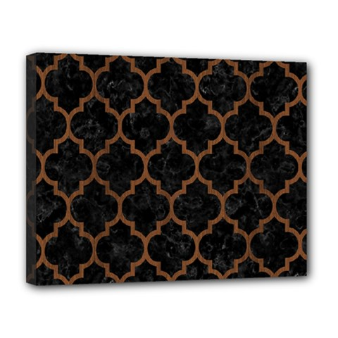 Tile1 Black Marble & Brown Wood Canvas 14  X 11  (stretched) by trendistuff