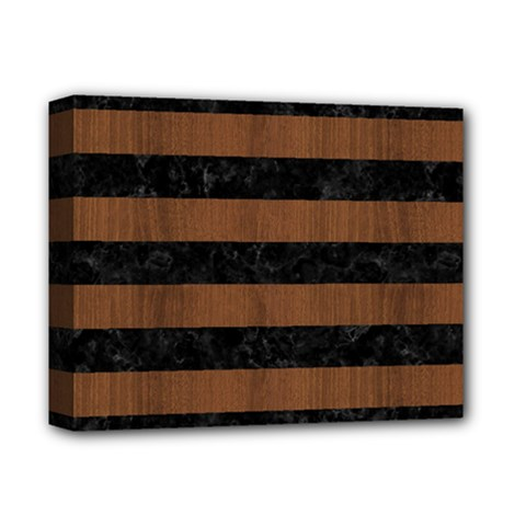 Stripes2 Black Marble & Brown Wood Deluxe Canvas 14  X 11  (stretched) by trendistuff