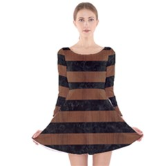 STR2 BK-MRBL BR-WOOD Long Sleeve Velvet Skater Dress by trendistuff