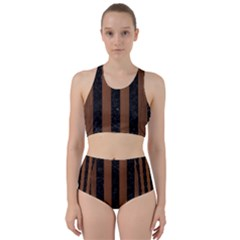 Stripes1 Black Marble & Brown Wood Bikini Swimsuit Spa Swimsuit