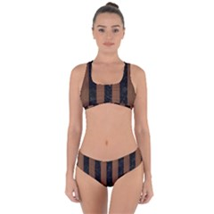 Stripes1 Black Marble & Brown Wood Criss Cross Bikini Set