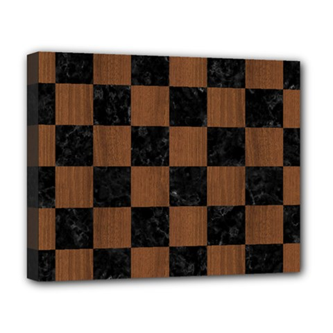 Square1 Black Marble & Brown Wood Deluxe Canvas 20  X 16  (stretched) by trendistuff