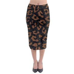 Skin5 Black Marble & Brown Wood (r) Midi Pencil Skirt by trendistuff