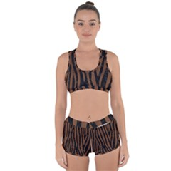 Skin4 Black Marble & Brown Wood (r) Racerback Boyleg Bikini Set