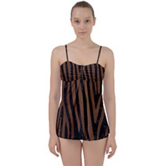 Skin4 Black Marble & Brown Wood (r) Babydoll Tankini Set