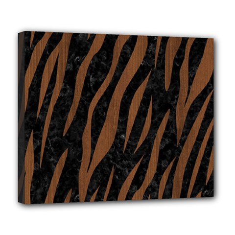 Skin3 Black Marble & Brown Wood Deluxe Canvas 24  X 20  (stretched) by trendistuff