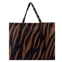Skin3 Black Marble & Brown Wood Zipper Large Tote Bag by trendistuff