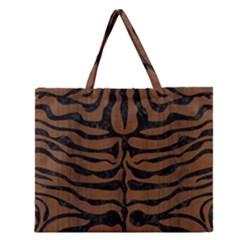 Skin2 Black Marble & Brown Wood (r) Zipper Large Tote Bag by trendistuff