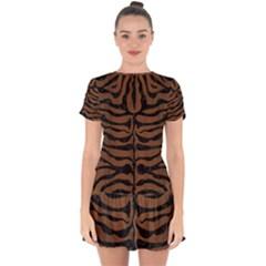 Skin2 Black Marble & Brown Wood (r) Drop Hem Mini Chiffon Dress