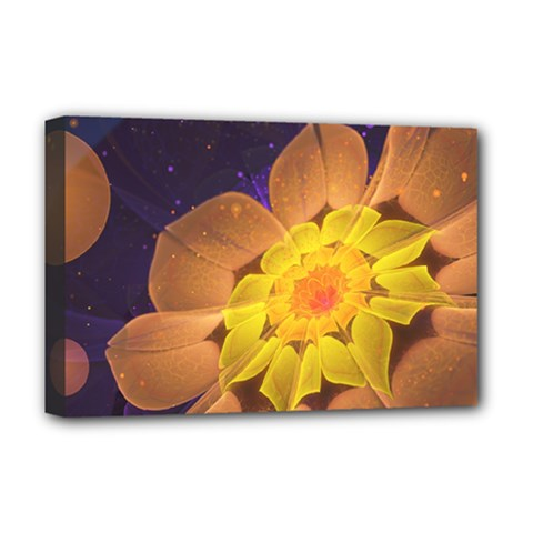 Beautiful Violet & Peach Primrose Fractal Flowers Deluxe Canvas 18  X 12   by jayaprime