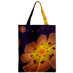 Beautiful Violet & Peach Primrose Fractal Flowers Zipper Classic Tote Bag by jayaprime