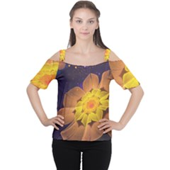 Beautiful Violet & Peach Primrose Fractal Flowers Cutout Shoulder Tee by jayaprime