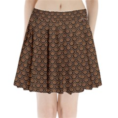 Scales2 Black Marble & Brown Wood (r) Pleated Mini Skirt