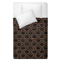 Scales2 Black Marble & Brown Wood Duvet Cover Double Side (single Size) by trendistuff