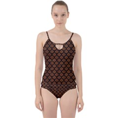 Scales1 Black Marble & Brown Wood (r) Cut Out Top Tankini Set