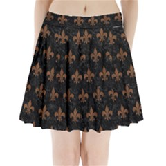 Royal1 Black Marble & Brown Wood (r) Pleated Mini Skirt