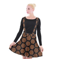 Hexagon2 Black Marble & Brown Wood (r) Suspender Skater Skirt by trendistuff