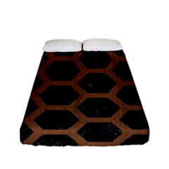 Hexagon2 Black Marble & Brown Wood Fitted Sheet (full/ Double Size) by trendistuff