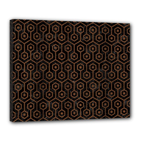 Hexagon1 Black Marble & Brown Wood Canvas 20  X 16  (stretched) by trendistuff