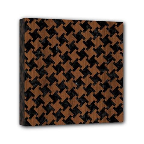 Houndstooth2 Black Marble & Brown Wood Mini Canvas 6  X 6  (stretched) by trendistuff