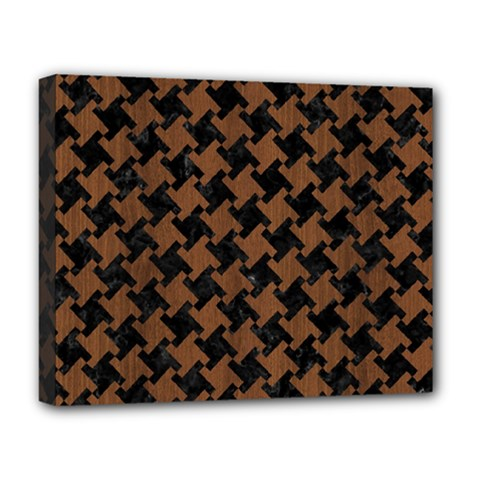 Houndstooth2 Black Marble & Brown Wood Deluxe Canvas 20  X 16  (stretched) by trendistuff