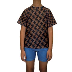 Houndstooth2 Black Marble & Brown Wood Kids  Short Sleeve Swimwear by trendistuff