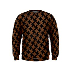 Houndstooth2 Black Marble & Brown Wood Kids  Sweatshirt by trendistuff