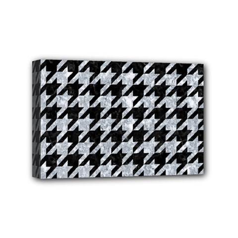 Houndstooth1 Black Marble & Brown Wood Mini Canvas 6  X 4  (stretched) by trendistuff
