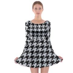 Houndstooth1 Black Marble & Brown Wood Long Sleeve Skater Dress