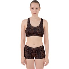 Damask2 Black Marble & Brown Wood (r) Work It Out Sports Bra Set