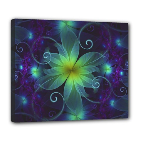 Blue And Green Fractal Flower Of A Stargazer Lily Deluxe Canvas 24  X 20   by jayaprime