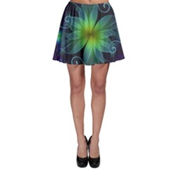 Blue And Green Fractal Flower Of A Stargazer Lily Skater Skirt by jayaprime