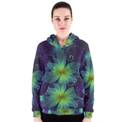 Blue And Green Fractal Flower Of A Stargazer Lily Women s Zipper Hoodie by jayaprime