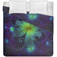Blue And Green Fractal Flower Of A Stargazer Lily Duvet Cover Double Side (king Size) by beautifulfractals
