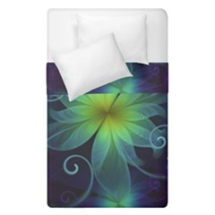 Blue And Green Fractal Flower Of A Stargazer Lily Duvet Cover Double Side (single Size) by beautifulfractals