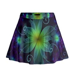 Blue And Green Fractal Flower Of A Stargazer Lily Mini Flare Skirt by jayaprime