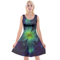 Blue And Green Fractal Flower Of A Stargazer Lily Reversible Velvet Sleeveless Dress by jayaprime