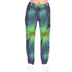 Blue And Green Fractal Flower Of A Stargazer Lily Drawstring Pants by jayaprime