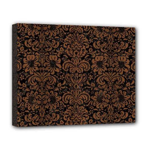 Damask2 Black Marble & Brown Wood Deluxe Canvas 20  X 16  (stretched) by trendistuff