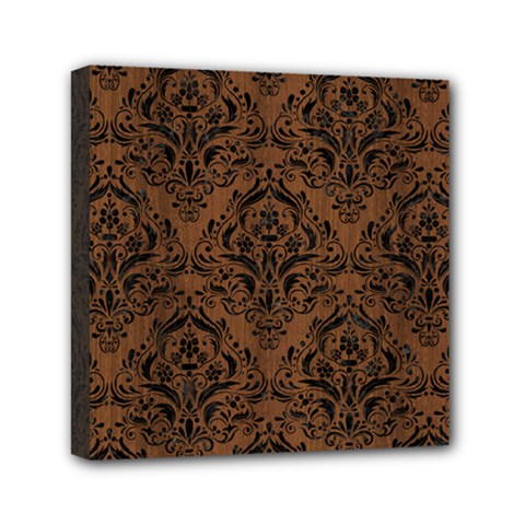 Damask1 Black Marble & Brown Wood (r) Mini Canvas 6  X 6  (stretched) by trendistuff