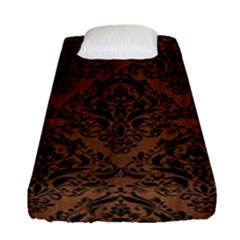 Damask1 Black Marble & Brown Wood (r) Fitted Sheet (single Size) by trendistuff