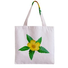 Yellow Flower With Leaves Photo Zipper Grocery Tote Bag by dflcprints