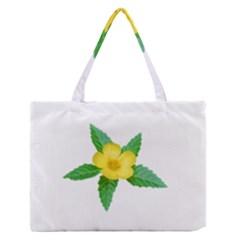 Yellow Flower With Leaves Photo Medium Zipper Tote Bag by dflcprints