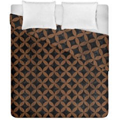 Circles3 Black Marble & Brown Wood Duvet Cover Double Side (california King Size) by trendistuff